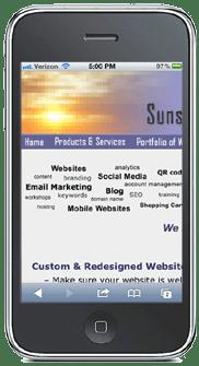Sunstone Web Solutions desktop website on a mobile phone