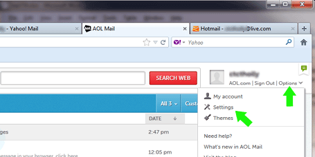 AOL email configuration changes